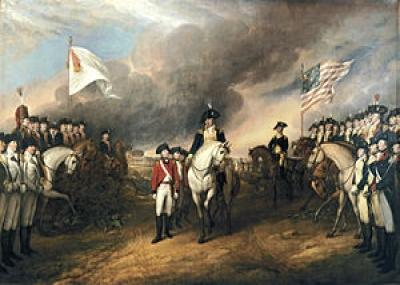 البريطانييون ينهزمون أمام الأمريكيين بقيادة جورج واشنطن في معركة يوركتاون