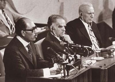 الرئيس محمد أنور السادات يزور إسرائيل ويلقي خطابًا أمام الكنيست