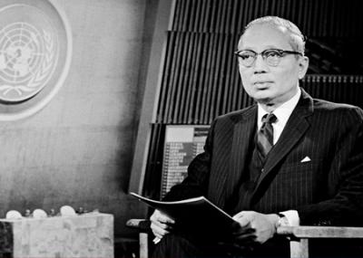 الدبلوماسي البورمي يو ثانت U Thant أمينًا عامًا للأمم المتحدة
