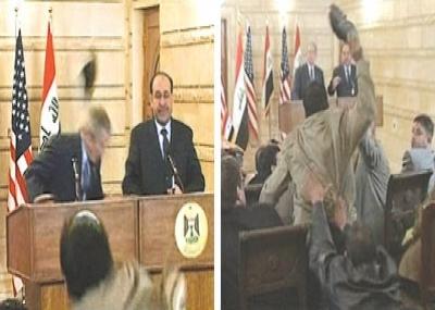 منتظر الزيدي الصحفي العراقي يقذف زوجي حذائه صوب الرئيس الأمريكي جورج بوش