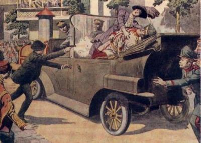 اغتيال فرانس فرديناند على يد غافريلو برينسيب مما ادئ لإشعال فتيل الحرب العالمية الأولى